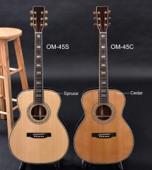 OM-45E  OM acoustic guitar, ebony fingerboard