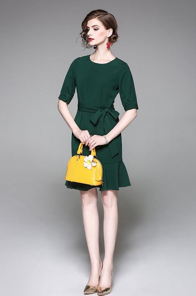 Dark Green Mermaid Tail Tie Dress Code No Mg17017250
