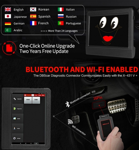 2019 Newest Version 100% Original Launch X-431 V+ Free update via internet for 2 year with Global Version and support Multi-Language