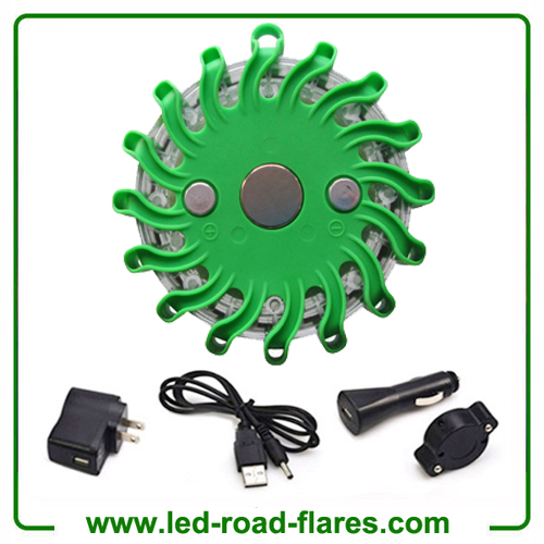 Green Rechargeable Led Road Flares Kits