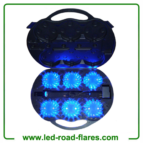 6 Packs Rechargeable Led Road Flares Led Safety Light Blue