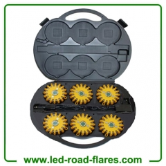 6-Pack Rechargeable 24 Led Road Flares Kits Yellow
