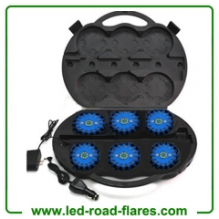 6-Pack Rechargeable 24 Led Road Flares Kits Blue