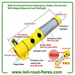 4 in 1 Multi-functional China Car/Auto Emergency Safety Life Hammer With Magnet Base and LED Flashlight Manufacturers