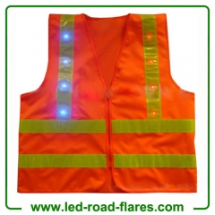 High Visibility AA Battery Operated Traffic Led Reflective Safety Vests