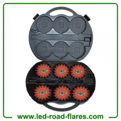 6-Pack Rechargeable 24 Led Road Flares Kits Red