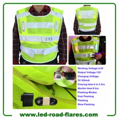 Hi Vis Reflective Rechargeable Flashing LED Light Safety Vest Safety Jacket