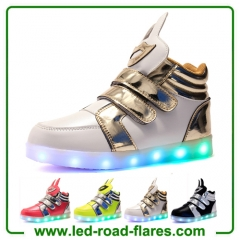 China High Top Boys Girls Children Kids Rabbit Led Light Up Trainers Red Green White Black