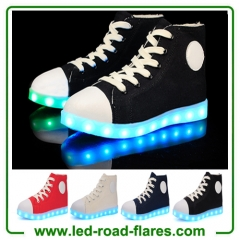 High Top Black Red Blue White Canvas Led Light Up Shoes Sneakers For Adult Unisex Men Women