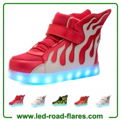 Casual High Top Children Kids Fire Flame Wings Led Light Up Shoes Kids Luminous Led Shoes Glowing Led Sneakers For Boys&Girls