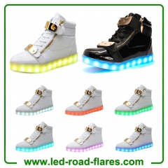High Top Metal Velcro Led Light Lace Up Sneaker Flashing LED Light Up Shoes for Couple