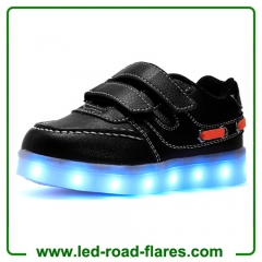 Low Top Black White Led Light Up Shoes for Kids Boys Girls Two Velcro