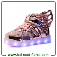 Butterfly Wings Unisex Kids High Neck Led Shoes Sneakers For Girls HIgh Top Led Light Up Shoes