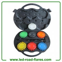 Red Yellow Blue Amber Orange Green White Black 6-Pack Rechargeable Led Road Flares 6 Pack With Charging Case