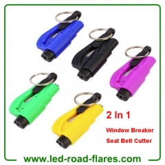 3 Or 2 In 1 Pocket Mini Car Auto Emergency Escape Rescue Tool Glass Window Breaker Safety Hammer with Keychain Seat Belt Cutter and Whistle