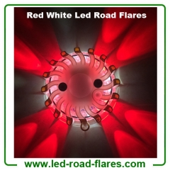 Duo Colours Red White Led Road Flares Rechargeable