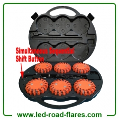 ICS Simultaneous Sequential 6 Pack Led Road Flares Rechargeable Led Warning Strobe Light