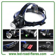 Zoomable Rechargeable Headlamp Led Headlight Flashlight Head Flashlight Tactical Headlamp Hard Hat Light Waterproof Led Head Lamp