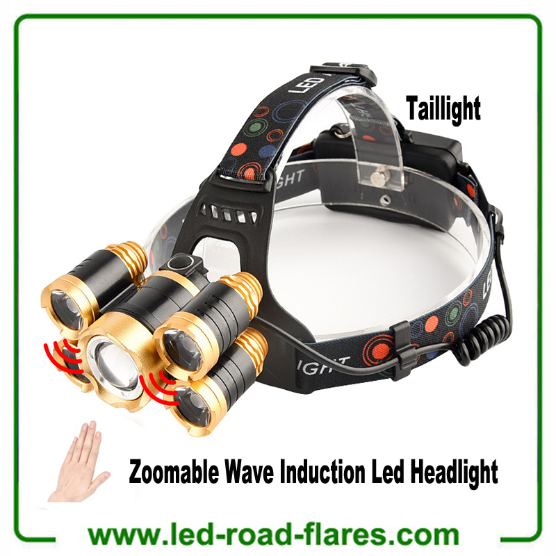 T6 Zoomable Adjustable Focus Led Headlamps Rechargeable Induction Headlights Waterproof Head Lamp for Fishing Camping Hiking Hunting Hard Hat Workers