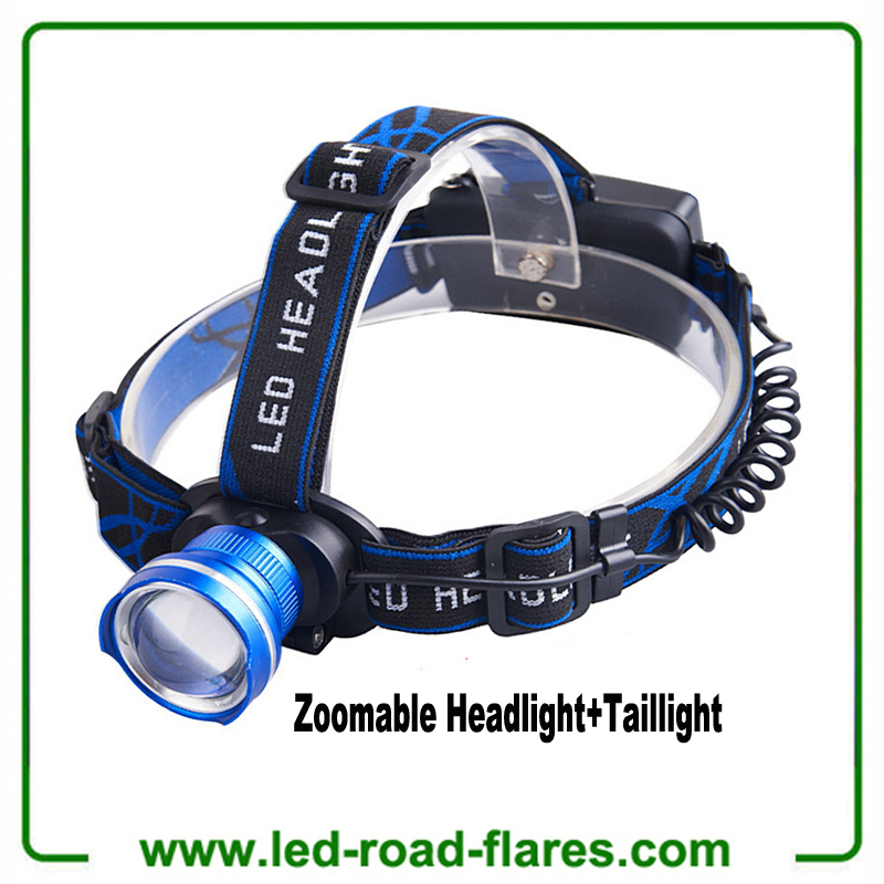 Rechargeable Headlamp LED Headlamp Flashlight Waterproof LED Head Torch Head Light Headlight with Red Warning Light for Camping, Fishing, Car Repair, Outdoor