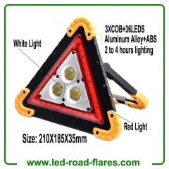 Led Warning Triangle Flood Light With 3 COB Chip Emergency Warning Light 4 Lighting Mode USB Charging Port Rechargeable Portable LED Work Light Searchlight Camping Safety Reflective Flash Light