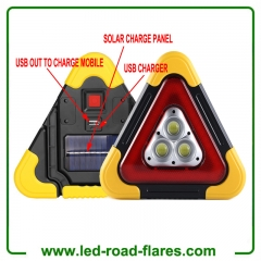 Solar Led Warning Triangle Flood Light With 3 COB Chip Emergency Warning Light 4 Lighting Mode USB Charging Port Rechargeable Portable LED Work Light Searchlight Camping Safety Reflective Flash Light