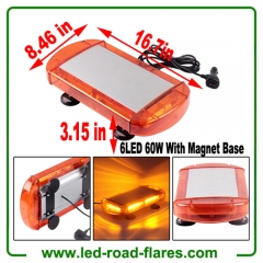 12V 60W 6-COB LED Emergenecy Warning Flashing Lights Amber Hazard Beacon Lights Bar Recovery Strobe Light with Magnetic Base