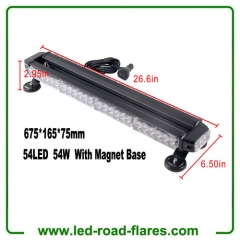 "26.6"" Red Yellow Amber White 54 LED Light Bar Emergency Warning Flash Strobe Light Traffic Advisor with Magnetic Base"