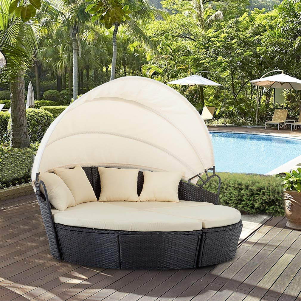 BestMassage Outdoor Patio Round Daybed Furniture Wicker Rattan Sofa Set  Sunbed Retractable Canopy Waterproof Cushions Lawn Garden Backyard Porch  Pool