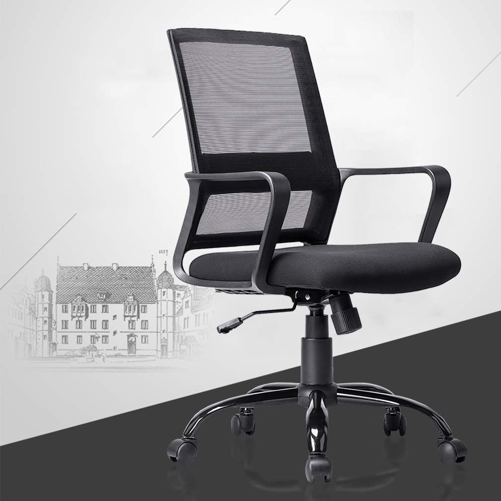 Office Chair Desk Chair Computer Chair with Lumbar Support Adjustable Armrest Mid Back Rolling Swivel Mesh Task Ergonomic Chair for Women Adults Black