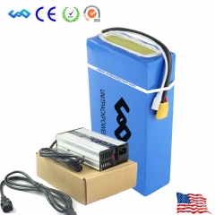 Ship From US Waterprrof PVC 48V 20Ah Li-ion Battery Pack for 48V 1000W Electric Fat Bike with Charger