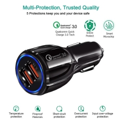 Hot sale qc3.0 qc3.1 small fast car charger adapter cigarette lighter dual usb car charger for mobile phone