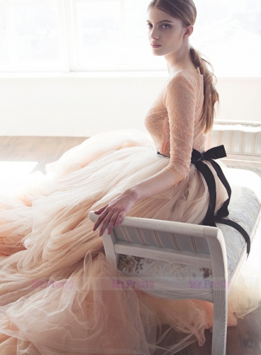 Champagne/White 3 Colors Long Train Bridal Skirt