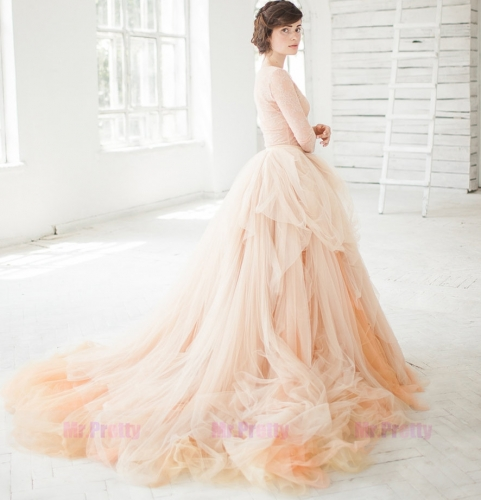 Champagne Long Train Bridal Skirt 2 Pieces Wedding Gown