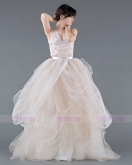 Champagne Tulle Full Length Bridal Skirt 2 Pieces Bridal Gown