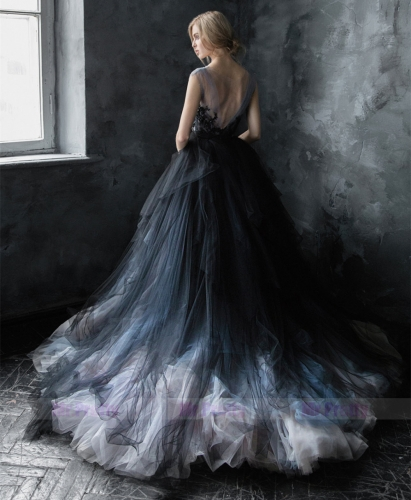 Navy Black Colors Tulle Long Train Wedding Skirt