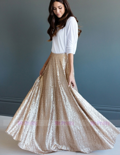 Light Gold Full Length Sequin Skirt