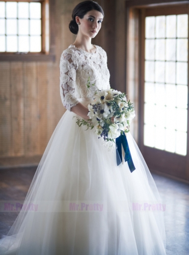 Ivory Tulle Short Train Wedding Skirt Bridal Skirt