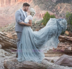 Blue Grey Long Tulle Bridal Skirt 2 Pieces Wedding Gown