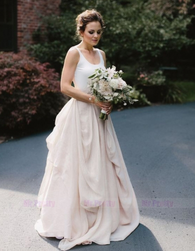 Blush Pink Chiffon Wedding Skirt 2 Pieces Wedding Gown