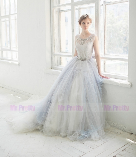 Grey Tulle Long Train Wedding Skirt 2 Pieces Bridal Gown
