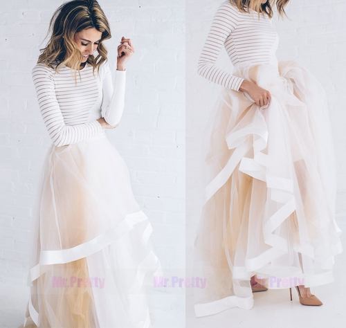 Champagne Short Train Tulle Skirt Bridal Skirt