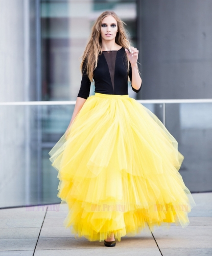 Purple/Yellow Maxi Tulle Skirt Bridal Skirt Party Skirt