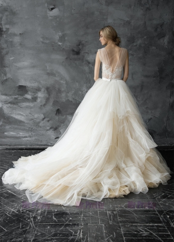 Ivory/Champagne Long Train Wedding Skirt