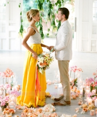Yellow Satin Short Train Skirt Bridal Skirt