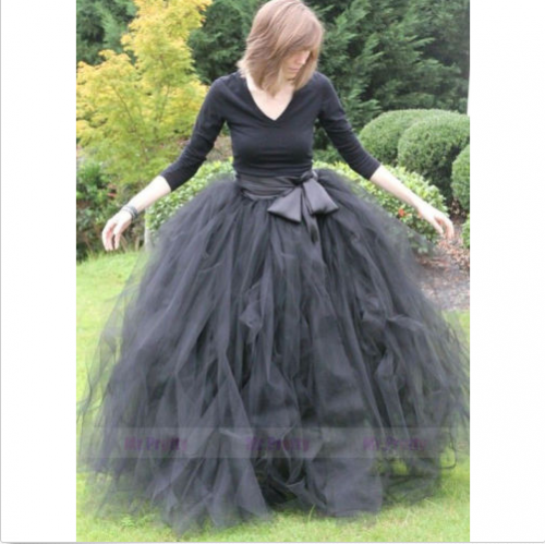 Black Tutu Tulle Full Length Party Skirt Bridesmaid Skirt