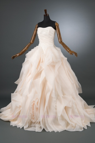 Light Chamapgne Organza Wedding Dress Bridal Dress
