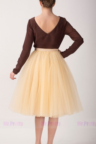 Champagne Short Tulle Bridal Skirt