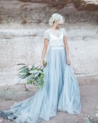 ff1f8f18da ... Blue Grey Long Tulle Bridal Skirt 2 Pieces Wedding Gown ...