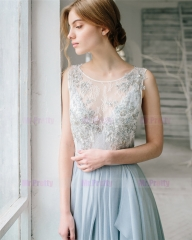 Light Grey Lace Beads Bridal Top 2 Pieces Wedding Top